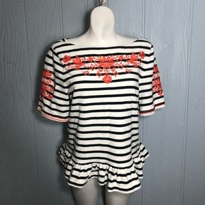 Kate spade striped embroidered blouse broome st